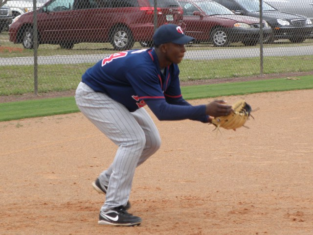 Twins teen aged Dominican prospect Miguel Angel Sano gets in some work at 3B.