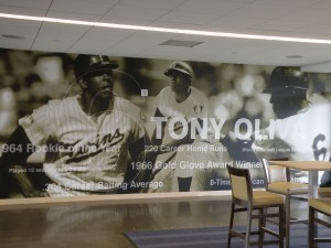 The Tony Oliva mural along one wall of the Legends Club
