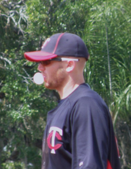 At least Chris Parmelee isn't chewing tobacco at 1B