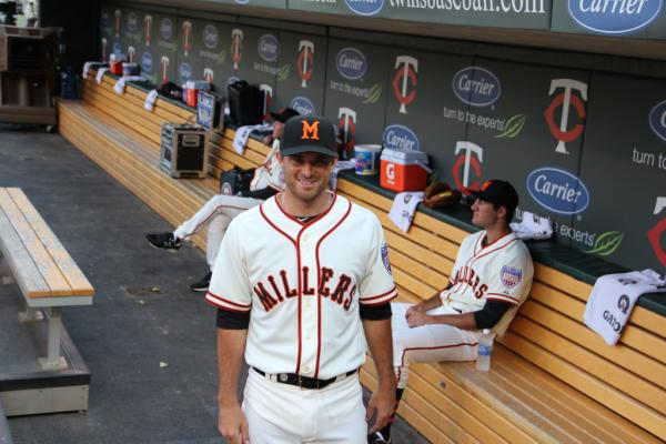 Drew Butera sporting the Minneapolis Millers uniform (Photo: Minnesota Twins)
