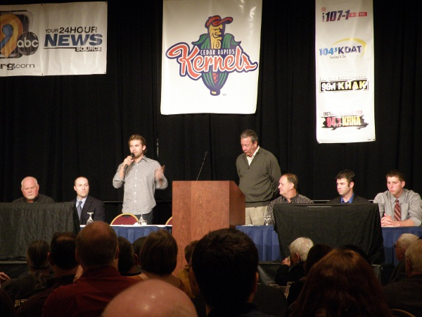 The Twins Caravan dias in Cedar Rapids was shared by (from L to R): Twins Director of Minor League Operations Brad Steil, Manager Ron Gardenhire, Infielder Brian Dozier, Broadcaster Dick Bremer, Bench Coach Terry Steinbach, Kernels Manager Jake Mauer, Minor League Pitcher of the Year B.J. Hermsen