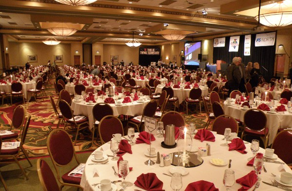 The CR Marriott Ballroom set up and ready for a big crowd