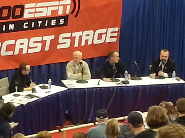 Radio broadcaster Cory Provus interviews Twins execs Terry Ryan, Jim Pohlad and Dave St. Peter