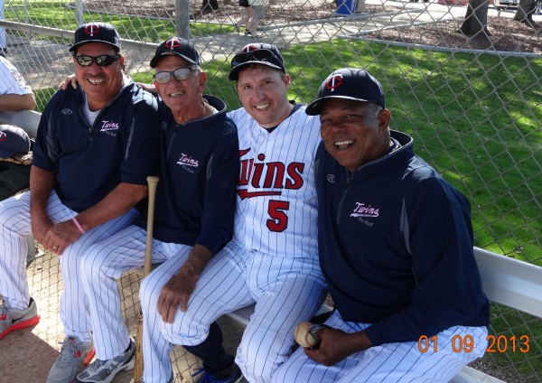 me hanging out with (from left to right) Juan Berenguer, Camilo Pascual, and Tony Oliva during the marathon that Game 1 became. Both Camilo and Tony are my team's coaches, along with our manager Bill Campbell. Great day today. :D photo credit: Corey Sauer