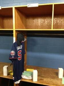 My locker at Twins Fantasy Camp. :D We are in the Minor League facility at the Lee County Sports Complex. photo credit: Corey Sauer
