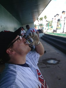 Me in the dugout of Hammond Stadium during the Pros vs. Rookies game chugging Advil after pitching to Tim Laudner, Gene Larkin, Tom Brunansky, Ron Coomer and Milt Cuyler and after that performance, I came to bat and got a hit off of Rick Aguilera. I am SORE. And very HAPPY. :D photo credit: Corey Sauer