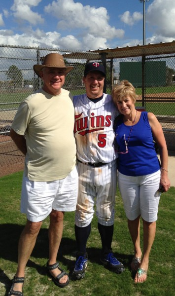 Weavers Win!! Weavers Win!! We scored 2 runs in the bottom of the 7th to win 4-3 and advance to the Red Division Championship! :D I am literally a happy camper posing in the photo after the game with my mom and dad. Woohoo!!!!  photo credit: Corey Sauer
