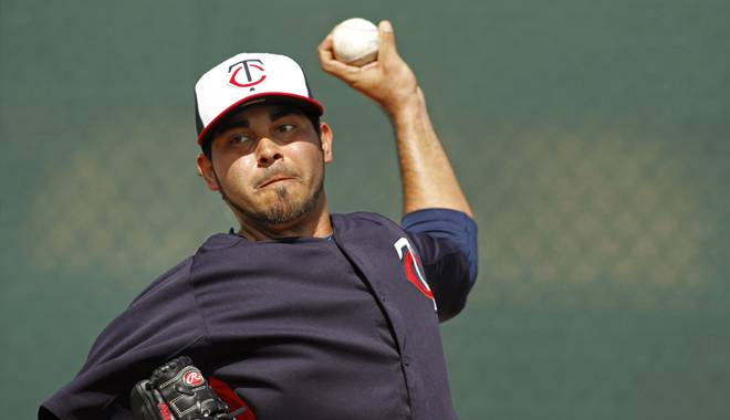 Pedro  Hernandez is everyone's boyfriend today! (Bruce Kluckhohn/Minnesota Twins-Getty Images)
