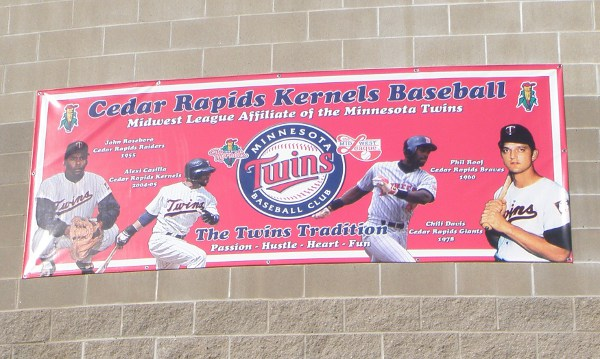 Sign above the Players Entrance features former Twins who have played for Cedar Rapids: