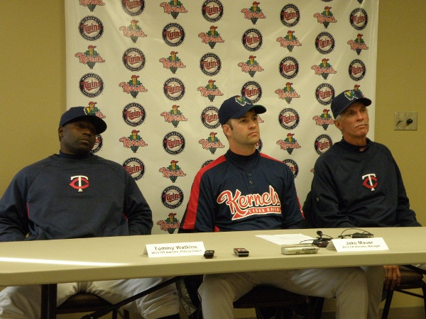 "Kernels coaches meet the media"" Tommy Watkins (hitting coach), Jake Mauer (manager), Gary Lucas (pitching coach)"