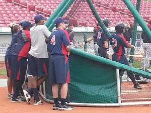 Paul Molitor (4) observing CR Kernels batting practice