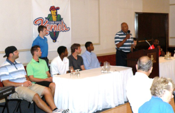 From left to right: Mike Gonzales, Dallas Gallant, Morgan Hawk (standing), Niko Goodrum, Brett Lee, Adam Brett Walker, Tony Oliva, Jake Mauer and Tommy Watkins