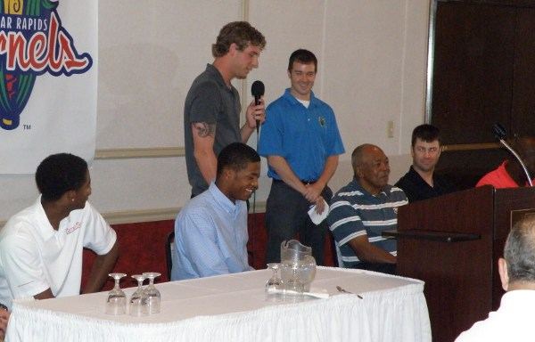 Kernels pitcher and Twins prospect Brett Lee answers a question during the breakfast event Saturday morning