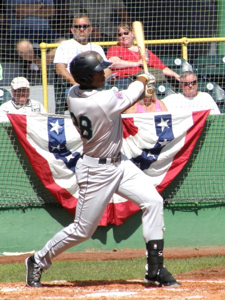 Adam Brett Walker lines a home run vs Clinton on September 2, 2013. Walker led the FSL in HR and RBI this season for the Fort Myers Miracle