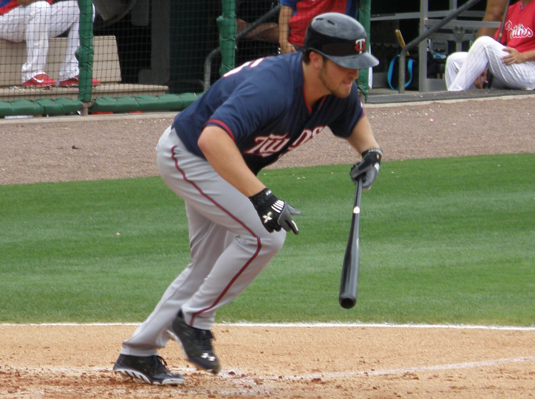Something you don't see happen often: A Twins pitcher hitting. Or, in this case, Phil Hughes attempting to put down a bunt.