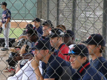 Manager Joe Mauer (in helmet) amongst some of the 2014 Kernels during spring training