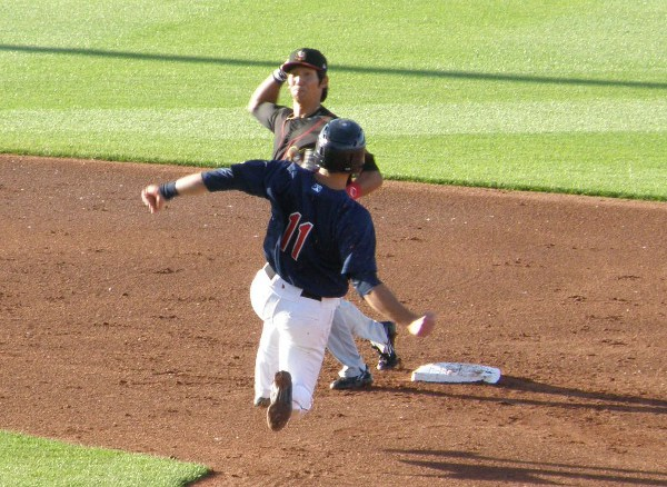 Jason Kanzler breaking up a double play