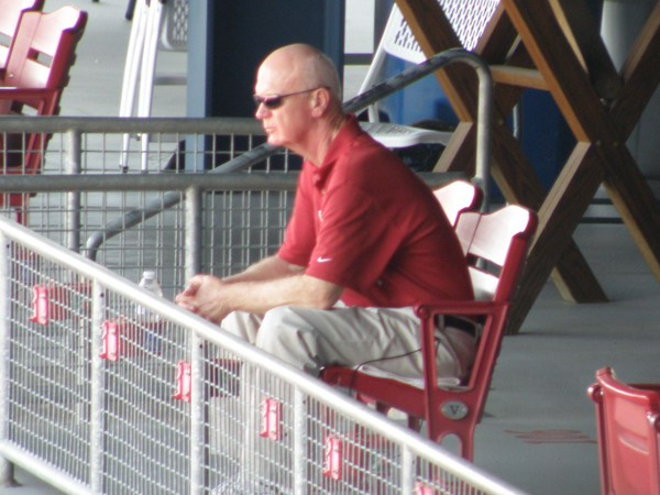 GM Terry Ryan observes Cedar Rapids Kernels batting practice on Sunday