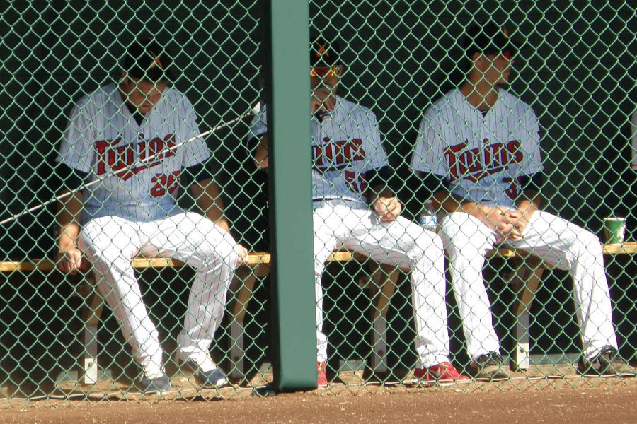 (L to R) In the bullpen, Jason Adam, Zack Jones, Taylor Rogers