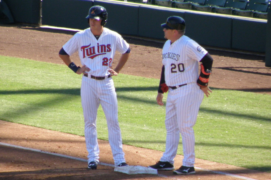 Max Kepler and base coach Darin Everson (Rockies)