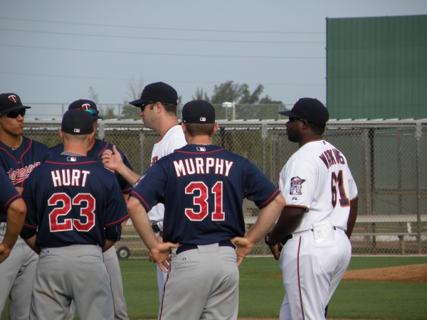 Jake Mauer and Tommy Watkins with early morning instructions