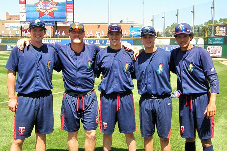 Kernels MWL All-Stars Jared Wilson, Cam Booser, Trevor Hildenberger, Trey Vavra and Felix Jorge (Photo: SD Buhr)