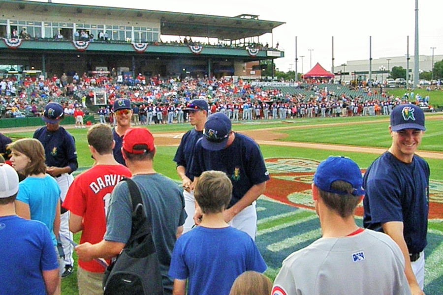 Kernels All-Stars work the pregame autograph ropeline at the 2015 MWL All-Star Game L-R: Jorge, Booser, Hildenberger, Wilson, Vavra. (Photo: SD Buhr)