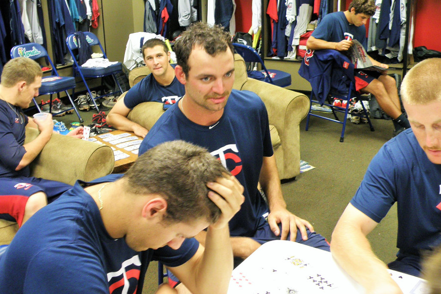Randy LeBlanc during a clubhouse card game (Photoa: SD Buhr)
