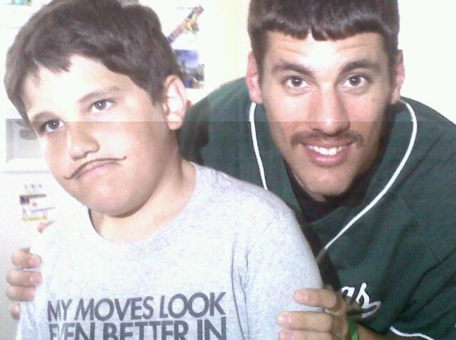 Lack Larson grew a mustache in high school and his brother Max got one, too. (Photo: courtesy Zack Larson)