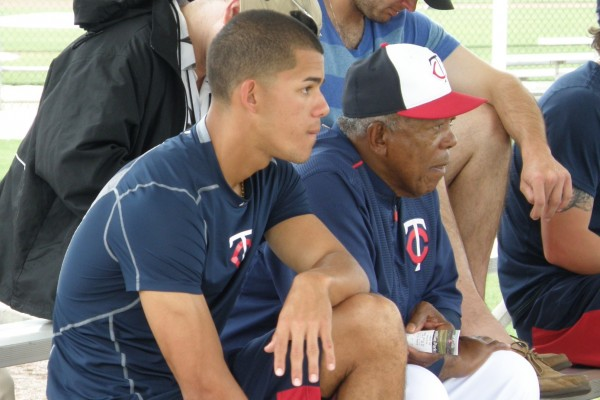 Jose Berrios and Tony Oliva chatted during a spring training game in March. They should be able to have chats like this at Target Field in 2016 (Photo: SD Buhr)