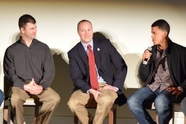 Jake Mauer, Brad Steil and Jose Berrios talk baseball at the Kernels Hot Stove Banquet