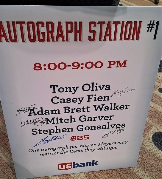 "My big (only) purchase of the day, from the ""Twins Yard Sale,"" was this Autograph Station sign from Friday night's autograph session, featuring the autographs of all five participants: Tony Oliva, Casey Fien, Adam Bret Walker II, Mitch Garver and Stephen Gonsalves"