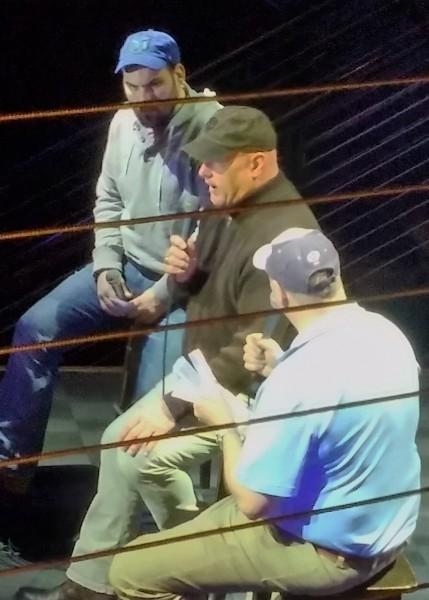 Paul Lambert (L) and John Bonnes (R) interview former Twins catcher Tim Laudner (center)