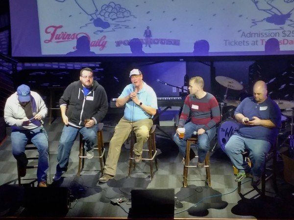 Paul Lambert, Aaron Gleeman, John Bonnes, Nick Nelson and Seth Stohs on stage (clearly, Paul and Seth are intensely interested in what John is saying, as evidenced by their focus on their phones)