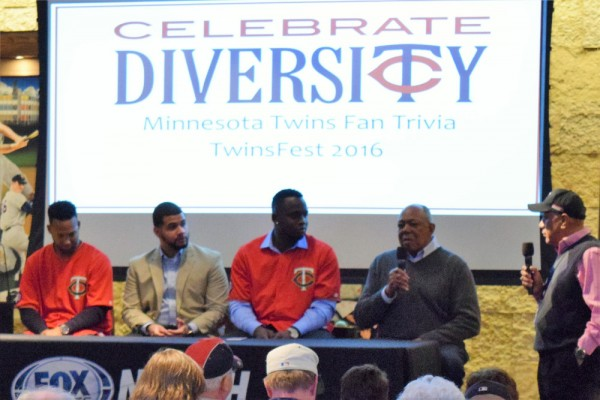 """A """"Celebrate Diversity"""" panel included Danny Santana, Miguel Sano and Tony Oliva."""