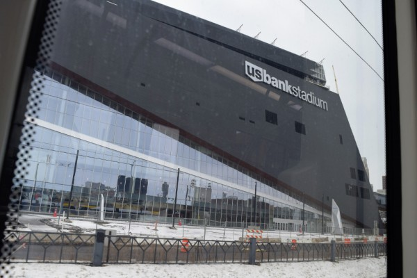 On the light rail headed to Target Field, I got a new look at the Vikings' future home.