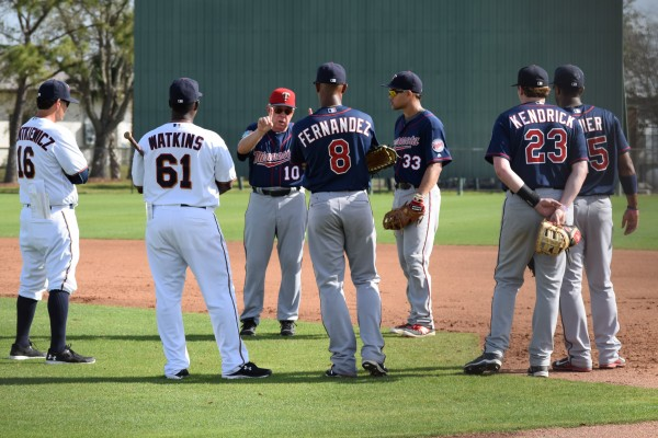 Tom Kelly giving instructions to a group of Class A first basemen, as Doug Mientkiewicz and Tommy Watkins listen in, as well.