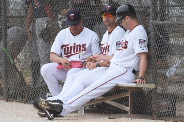 Left to right, pitching coach JP Martinez, hitting coach Brian Dinkelman and manager Jake Mauer