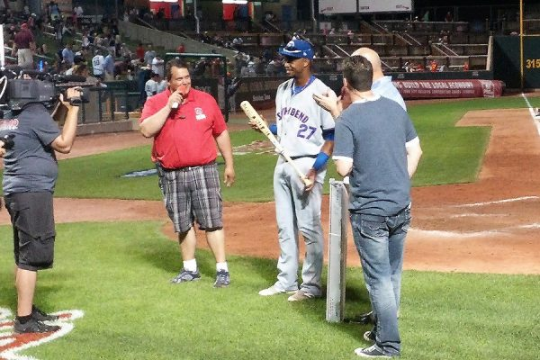Eloy JImenez, of the South Bend Cubs, was presented with the Top Star Award for the game. (Yes, I mistakenly identified him as Francisco Meija in a Tweet at the time. That's what happens when you have multiple players wearing the same jersey number. My bad.)