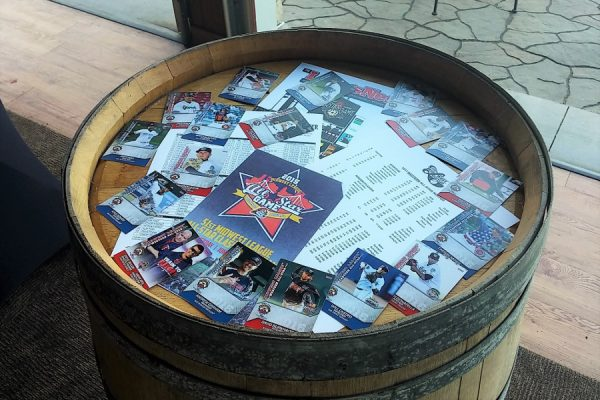 On Monday evening, the Kernels hosted players, team officials, various VIPs and guests of all of the above at a social event at Cedar Ridge Vineyard & Distillery. I got my first look at the ASG card set at displays there.