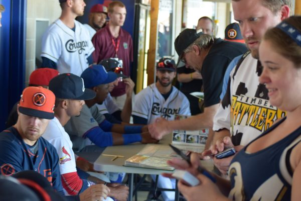 Before Tuesday's game, Players were available for autographs on the concourse.