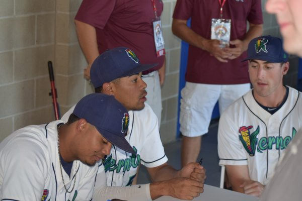 Kernels All-Stars Luis Arraez, LaMonte Wade and AJ Murray at the autograph table before the ASG on Tuesday